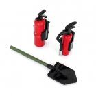 Hasící plastová sada: 2x hasící přístroj včetně držáků a 1x rýč špičatý