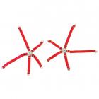 Pětibodové pásy s kov. přezk. , červené popruhy, dvě sady