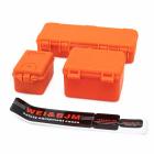 Sada tří plastových oranžových ochranných kufrů