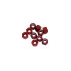 4 mm.alu samojistné matičky červené (10 ks.)