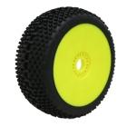 SWEET SHOT (medium/modrá směs) Off-Road 1:8 Buggy gumy nalep. na žlutých disk. (2ks.)