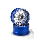 Hliníkový disk 14 paprsků, offset 9 mm - modrá barva (2 ks)