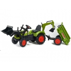 FALK - Šlapací traktor Claas Arion 430 s nakladačem, rypadlem a vlečkou